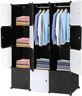 GLARRY Armoire Penderie Portable, Armoire Étagère de Rangement 12 Cubes, avec Tige Suspendue et Portes, pour Vêtements Cha...