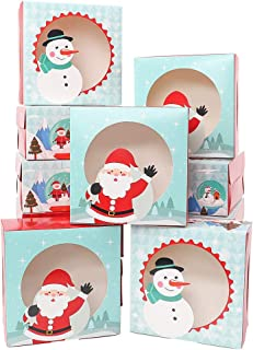 Moretoes Christmas Cookie Gift Boxes Treat Boxes with Clear Window For Gift Giving, Pastry, Candy, Party Favors, Set of 20 Boxes
