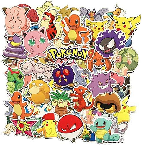 Hyde Pokemon Sticker Pack, 80 Stück Anime Stickers, Wasserdicht Aufkleber Kind Teenager Pokémon Stickers für Auto Motorräder Fahrrad Skateboard Gitarre Snowboard Gepäck Notebook Laptop (80 Stück)