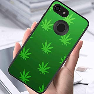 Google Pixel 3 XL (6.3in) Cell Phone Case Abstract Background Cannabis Green Leaves Marijuana Pattern Wallpaper Leaf