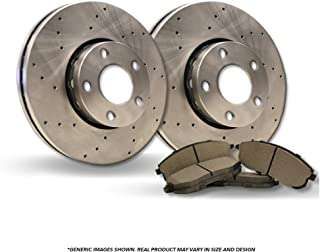 4 Semi-Metallic Pads Heavy Tough-Series Front Kit Fits:- Odyssey 2 Cross-Drilled Disc Brake Rotors 5lug
