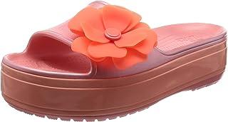 Crocs Women's Crocband Platform Vivid Blooms Slide Sandal, Melon