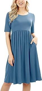 RIAH FASHION Women's Empire Waist Pocket Dress