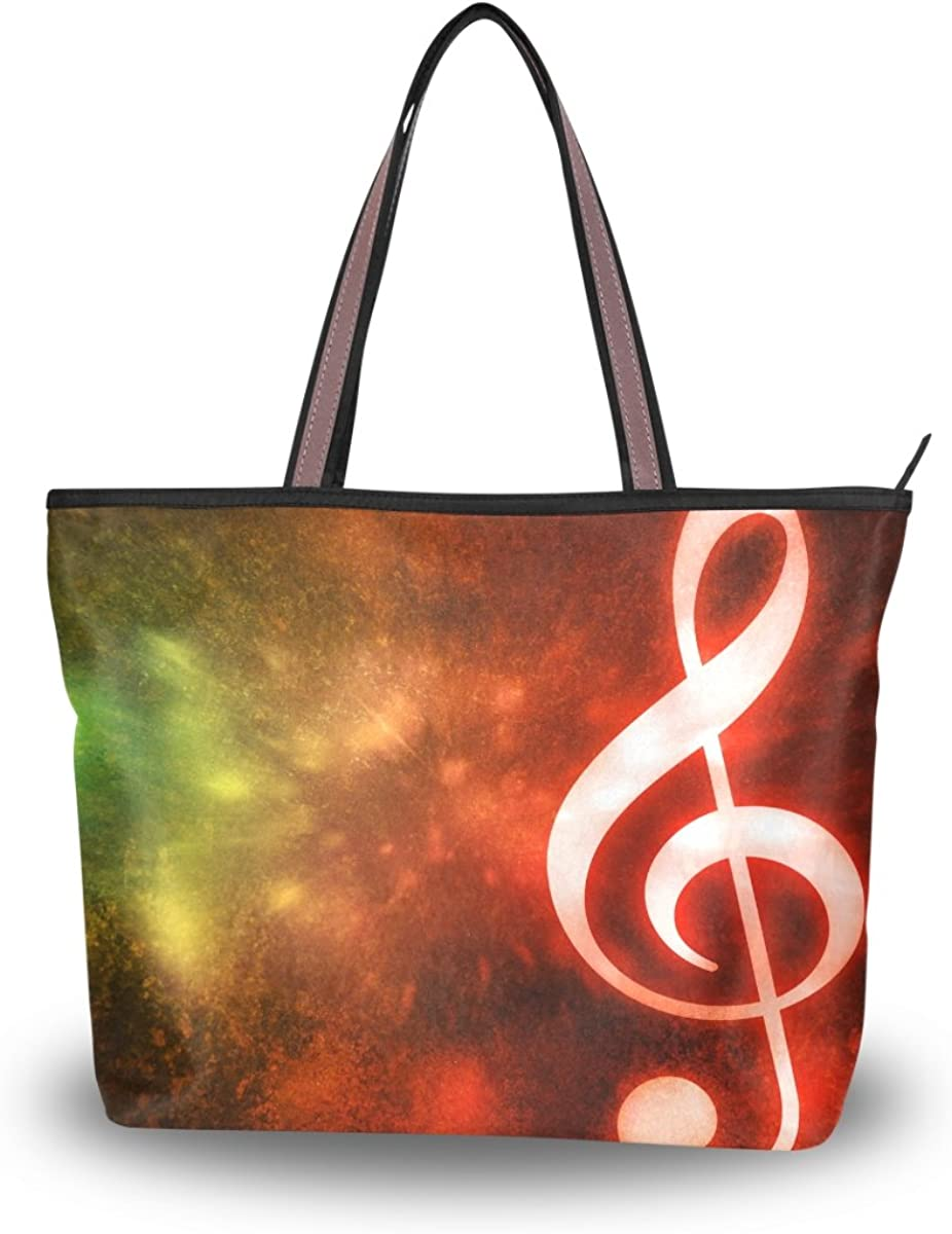 JSTEL Women Large Tote Top Handle Shoulder Bags Musical Abstract Patern Ladies Handbag