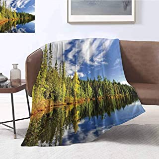 Landscape Rugged or Durable Camping Blanket Forest Reflecting on Calm Lake Shore at North Canada Universe Art Print Warm and Washable W54 x L72 Inch Green Blue White