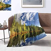 Landscape Bedding Microfiber Blanket Forest Reflecting on Calm Lake Shore at North Canada Universe Art Print Super Soft and Comfortable Luxury Bed Blanket W70 x L84 Inch Green Blue White