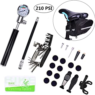 Bike Tire Repair Kit And Mini Bike Pump - Glueless Puncture Repair Kit For Presta And Schrader (Up To 210 PSI) With Pressure Gauge for Road Mountain And BMX Bikes Without the Need To Replace the Valve