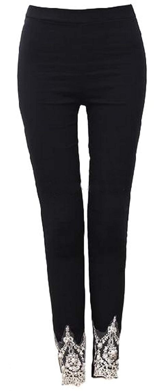 [ミート]レディース レギンス パンツ 9分丈 パール ビーズ 刺繍 付 足元 キラキラ で 美脚 効果 コットン素材 で ストレッチ 抜群 大きい サイズ も