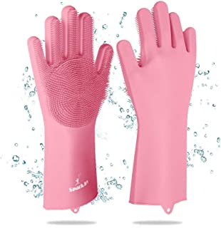 SparkJoy 3 in 1 Reusable Silicone Dishwashing Gloves, Deep Cleaning Gloves for Dishes, Build in Brush Sponge Scrubber, Magic Silicone Gloves for Washing Kitchen, Bathroom, Car, Pet Hair & More (Pink)