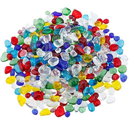 Shanxing Trommelsteine, Steinchips, Schotter, Kristalle, Heilung, Dekoration (ca. 460Gramm) Multicolor Lampwork Glass