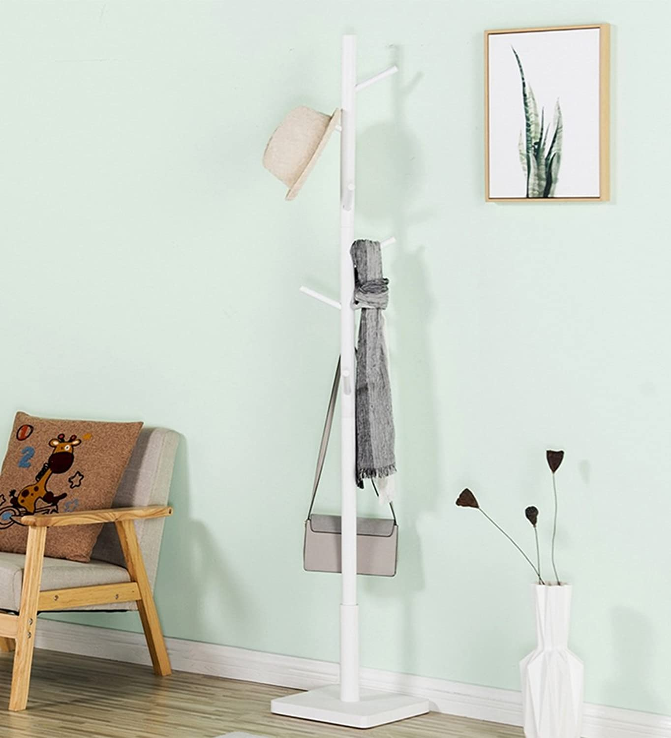 QIANGDA Floor Standing Hat and Coat Rack Solid Wood Minimalist Style 175cm X 30cm X 30cm, 3 colors Optional (color   White)