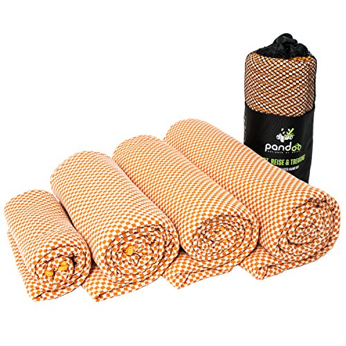 pandoo Bamboo Travel Towel | Made from Eco-friendly Nylon & Bamboo-Activated Carbon Fibres | Extremely Absorbent, Soft & Anti-Bacterial | Suitable for Sports, Travel & Trekking, | orange 80 x 40 cm