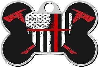 HAOPENGYOU Custom Pet ID Tags Personalized Dog Tags & Cat Tags Bone Shape USA Flag Fireman