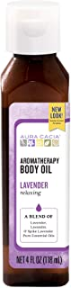Aura Cacia Relaxing Lavender Aromatherapy Body Oil | GC/MS Tested for Purity | 118ml (4 fl. oz.)
