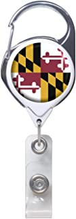Officially Needed-Maryland State ID Badge Holder Retractable, White Carabiner Badge Clip   Great for Holding Name Tags, Light Tools Like Nail Clippers   Gifts for Teachers, Nurses, Professionals