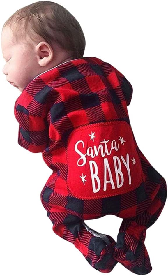 US Infant Baby Boy Girl Plaid Romper Costume Summer Christmas Santa Outfit Cloth