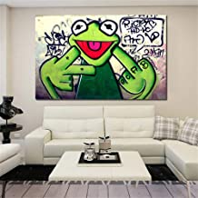 GUDOJK Decorative Paintings Street Graffiti Art Frog Kermit Finger Poster Print Canvas Painting Animal Oil Painting Wall Pictures for Living Room Unframed-60x80cm