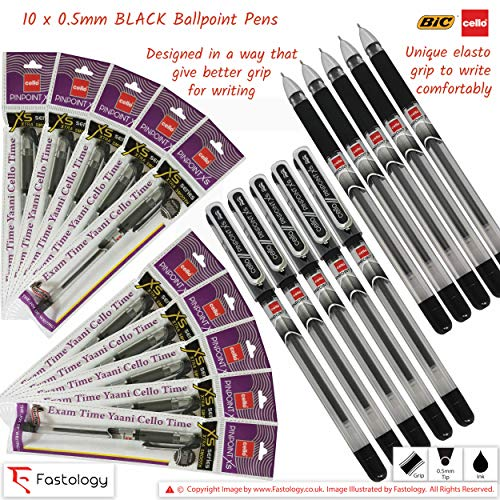 5 x 0.5mm BIC CELLO Gripper BLACK Ballpoint Pens Elasto Grip Smooth Writing