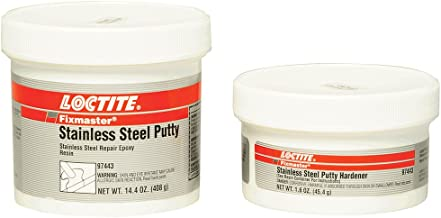 Loctite 97443 Fixmaster Stainless Steel Putty, Begins to Harden in 20 Minutes, 1 oz Kit, Grey