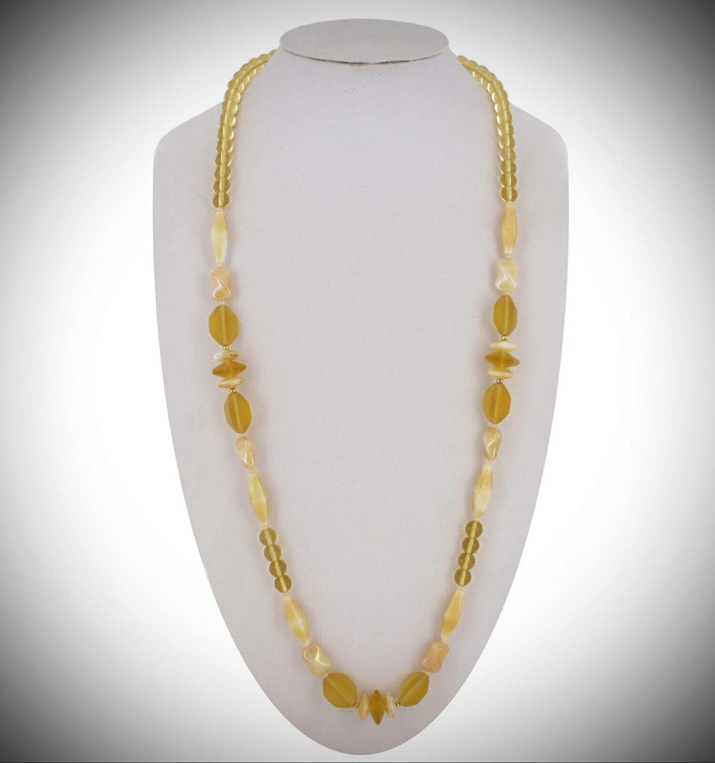 Czech Glass Beaded Yellow Clear Free shipping White Collar 32