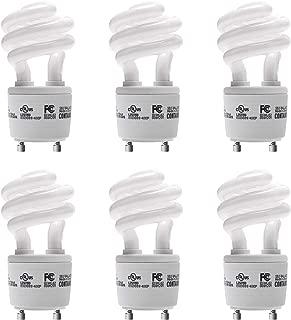 JACKYLED CFL Light Bulbs Energy Efficient UL T3 13W 2700K 900lm Spiral GU24 Base Compact Flourescent Bulbs 6-Pack