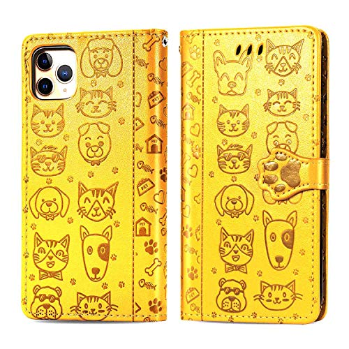 Compatible for iPhone 11 pro 5.8 inch Wallet Case with Card Holder,Embossed Dog Cat,TPU Shockproof Premium PU Leather Double Magnetic Buttons Flip Shockproof Protective Cover-Yellow