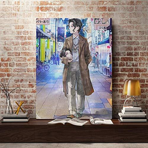 PLjVU Anime Malerei Wandkunst Leinwand Wohnzimmer nach Hause Bedro-Rahmenlos45X60cm