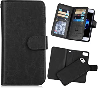 iPhone 7(4.7'') Wallet Case,iPhone 8 Wallet Case [KAIFX] PU Leather Folio Flip 9 Credit Card Slots Cash Holder Magnetic Flap Detachable Vintage Book Style Case for iPhone 7/8 (Black)