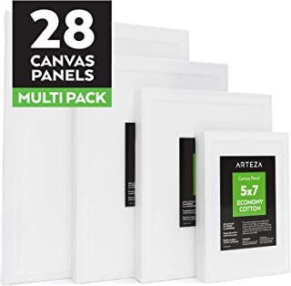 ARTEZA Painting Canvas Panels Multi Pack, 5x7, 8x10, 9x12, 11x14, Set of 28, Primed White, 100% Cotton with Recycled Board Core, for Acrylic, Oil, Other Wet or Dry Art Media