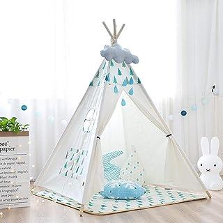 Vobajf Lektält barn bomull kanvas tipi-tält hopfällbart barn lekstuga leksaker för flickor och pojkar lektält (färg: Vit, ...