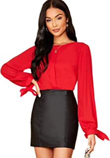 Milumia Women's Elegant Knot Tie Cuff Bishop Long Sleeve Party Blouse Top Shirt