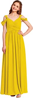 Pleated Chiffon Bridesmaid Dress Long Formal Event Dress for Wedding Party