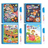 Libros para colorear al agua, 4 piezas de libros de pintura mágica para niños libro de rastreo para niños ibro de dibujo reutilizable y juego de bolígrafos para niños pequeños, niños, niñas, presente