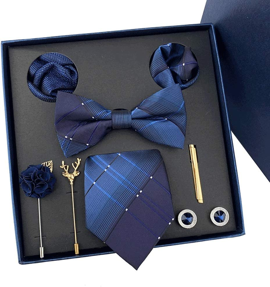 NJBYX New Men's Tie Hanky Cufflinks Set with Gift Box Fashion Ties for Men Wedding Business Party Groom (Color : C)