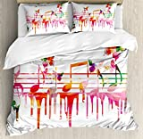 Ambesonne Music Duvet Cover Set, Colorful Artwork Music Notes Clef Signs Composer Orchestra with Classical Design, Decorative 3 Piece Bedding Set with 2 Pillow Shams, Queen Size, Orange Pink
