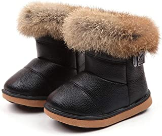 Girls Boys Warm Winter Flat Shoes Bailey Button Snow Boots(Toddler/Little Kid), LONGDAYToddler Boots Fur Lined Winter
