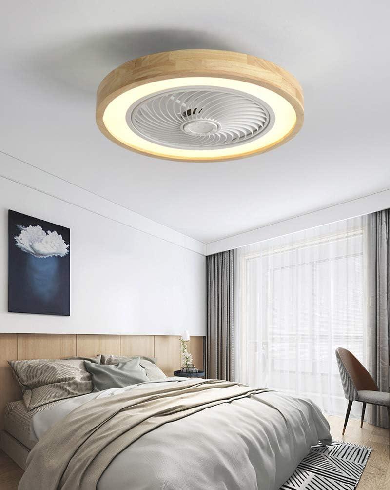 Ventilador de techo de madera con iluminación LED, luz de techo con ventilador invisible, regulable con control remoto, lámpara de ventilador silencioso, lámpara de techo para dormitorio comedor ø50cm