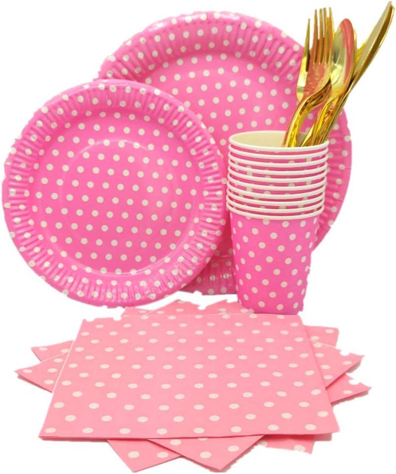 Rosa Party Kit Mantel Cubierta Feliz Cumplea/ños Banner Bolsa Globos para Ni/ños Cumplea/ños Ni/ñas 134 Piezas Decoraciones Cumplea/ños Desechable Vajilla