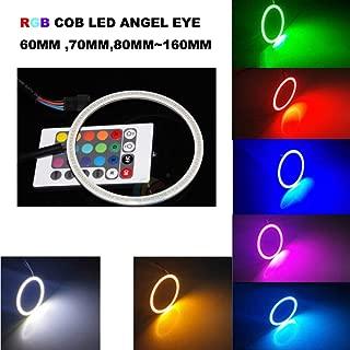 Qiuko 4 x 160mm Multi-color LED COB RGB Angel Eye Halo Ring Fog Light Bulb Remote kit