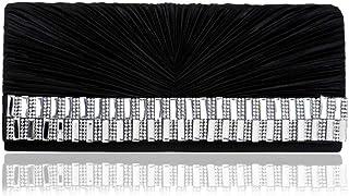 Fine Bag/Women's Satin Pleated Flower Front Evening Bag Clutch Handbag Elegant (Color : Black, Size : One Size)