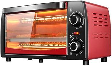 Horno eléctrico de convección, mini microondas digital retro con horneado esmaltado, electrodomésticos de cocina con temporizador y control de temperatura ajustable, acero inoxidable, 1050W 12L, rojo