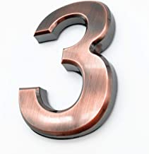4 Inch Mailbox Numbers 3, Bronze House Number Stickers for Front Doors, Metal Shining, by Hopewan. (3, Bronze)