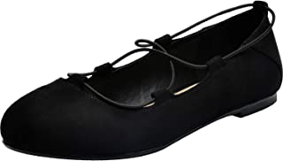 Women's Wide Width Flat Shoes - Lace up Comfortable Round Toe Ballet Flats.