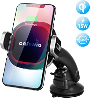 Caferria Wireless Car Charger Mount 15W Fast Charging Qi Charger with Infrared Auto Clamping Windshield Dashboard Air Vent Phone Holder for iPhone X XR Xs Max 8 Plus Samsung Note 9/8 S9+ S8+ Edge S7