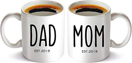 New Parents Pregnancy Announcement Coffee Mug, Mom and Dad Mugs Set 11oz, Newborn Funny Gift Idea for Birth Announcement, Baby Presents, Baby Shower, Pregnancy Reveal, Perfect Christma