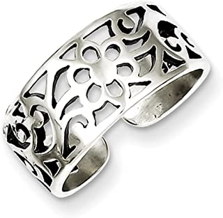 Lex & Lu Sterling Silver Antiqued Floral Toe Ring LAL22927