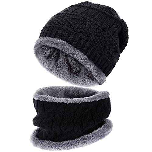 Rovtop Knitted Hat and Scarf Set Winter Hat Ski Scarf Set for Men 90139f664b5