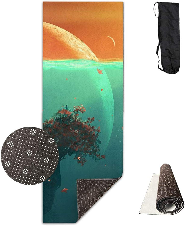 Yoga Mat Non Slip 24  X 71  Exercise Mats Deep Ocean Planet Fish Premium Fitness Pilates Carrying Strap