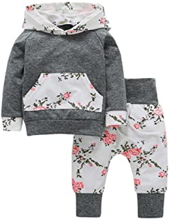 Toddler Infant Baby Girls Cute Floral Long Sleeve Hoodies Tops Pants Outfit Set