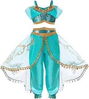 Debispax Princess Jasmine Aladdin Costume Dress Up for Toddler Girls 3-8T
